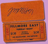 Jim Morrison autographed Fillmore ticket stub